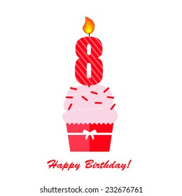 Happy Eighth Birthday Anniversary card with cupcake and candle  in flat design style, vector illustration