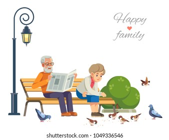 Happy elderly couple feeding the birds on a park bench, isolate on white background. Vector flat illustration