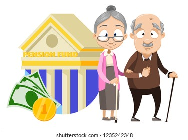 Happy elderly couple on background bank building. Retirement savings and financial success in old age. Successful rich pensioners with bank deposit. Pension plan and banking vector illustration.