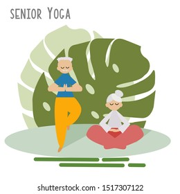 Happy Elderly couple is Practicing Yoga in the Garden with Calm and Relax Mind. Healthy lifestyle concept. Cartoon Grandma and Grandpa Flat Vector illustration.