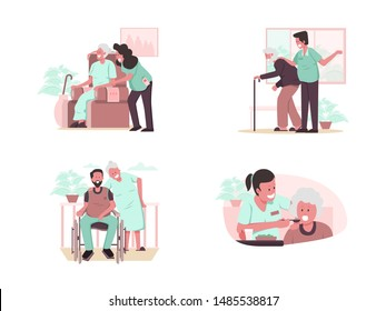 Happy Elderly Couple, Senior Health Checkup, Elder with Caregiver or Nurse Illustration Concept. Modern design concept.Vector illustration EPS 10