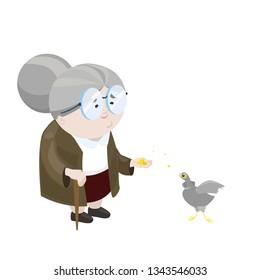Happy elderly lady feeding the birds, isolate on white background. Vector flat illustration