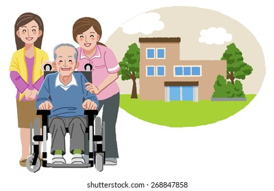 Happy elderly man in wheelchair with his family and nurse, and with nursing home in the background.