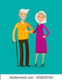 Happy elderly people or retired. Cartoon vector illustration
