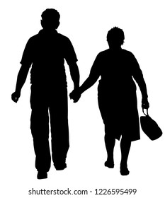 Happy elderly seniors couple hold hands vector silhouette. Mature coupe in love together on white background. Grandmother and grandfather closeness in public. Golden age for travel and peace in soul.