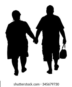 Happy elderly seniors fat couple hold hands vector silhouette. Mature coupe in love together on background. Grandmother and grandfather closeness in public. Golden age for travel and peace in soul.