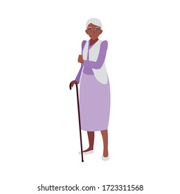 happy elderly woman wearing clothes vector illustration design