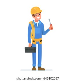 Happy electrician worker.  Flat style vector illustration isolated on white background.