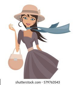 Happy elegant lady with hat scarf and handbag isolated