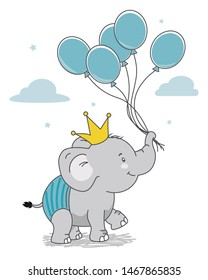 Happy elephant with crown and balloons. Isolated vector