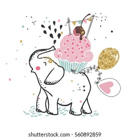 happy elephant with giant cupcake