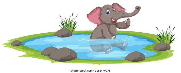 Happy elephant playing in the water illustration