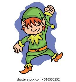 Happy elf with green costume