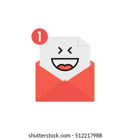 happy emoji in red letter notification. concept of laughing, mood print, web postal, online conversation, human sense, open e-mail. flat style trend modern logotype graphic design on white background