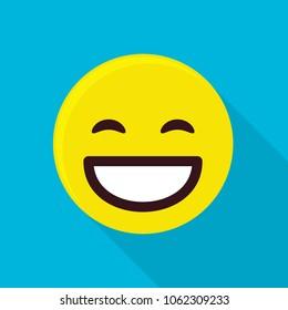 Happy emoticon icon. Flat illustration of happy emoticon vector icon for web