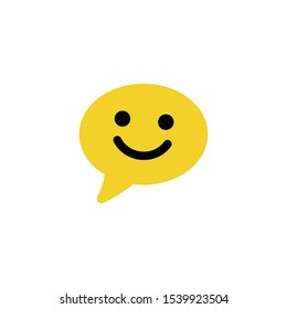 Happy emoticon sign. Smile chat line icon. Speech bubble symbol. Colorful outline concept. Yellow thin line smile chat icon. Vector