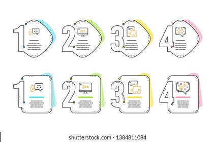 Happy emotion, Strategy and 24h service icons simple set. Spanner sign. Web chat, Puzzle, Call support. Repair service. Technology set. Infographic timeline. Line happy emotion icon. Vector