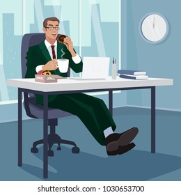 Happy employee has breakfast donuts with coffee in workplace. Businessman snacks in his office. Office life concept. Simplistic realistic cartoon style. Vector illustration