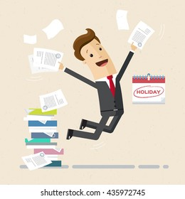 Happy employee or manager is jumping for joy due start of vacation. Vector, flat, illustration
