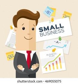Happy entrepreneur, businessman, small business. Thumb up. Vector, flat, illustration