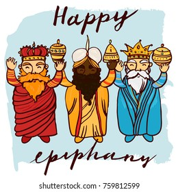 Happy Epiphany day hand drawn celebration greeting card template. Three wise kings man standing, smiling, holding gifts.