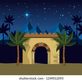 happy epiphany with desert mountains and palm trees