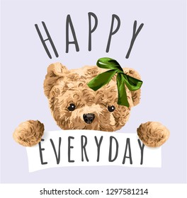 happy everyday with bear toy illustration