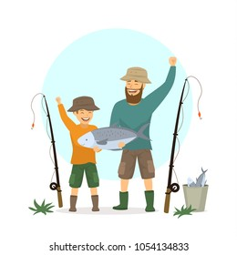 happy excited father and son fishing scene , isolated vector illustration