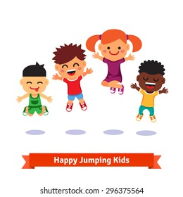 Happy and excited jumping kids. European, asian, afro american. Flat style vector cartoon illustration.