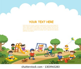 Happy excited kids having fun together on playground. Children play outside. Vector illustration.Template for advertising brochure.