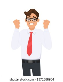 Happy and excited young business man celebrating victory expressing success, power, energy and positive emotions.  Person is clenching his fists. Successful man raised hand fists. Cartoon style.