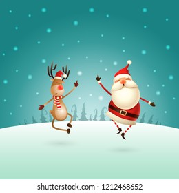 Happy expresion of Santa Claus and Reindeer -  they jumping straight up and bring their heels  claping together right under on winter landscape - Christmas template poster
