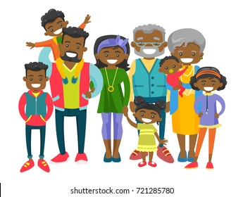 Happy extended african smiling family with old grandparents, young parents and many children. Portrait of big family together with cheerful smile. Vector illustration isolated on white background.