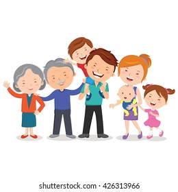 Happy extended family. Happy extended family gesturing with cheerful smile.
