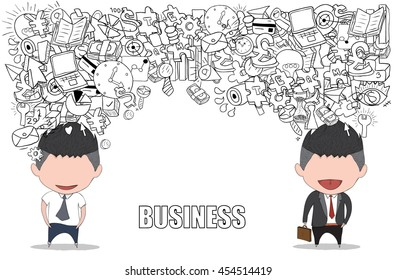 Happy face businessman on business doodles objects background., drawing by hand vector