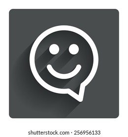 Happy face chat speech bubble symbol. Smile icon. Gray flat square button with shadow. Modern UI website navigation. Vector