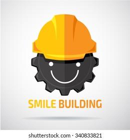 Happy face in orange helmet. Building, repair and service vector logo design template.