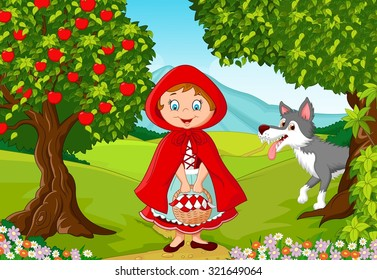 Happy fairy princess robe with wolf in the jungle