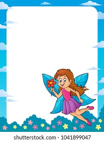 Happy fairy theme frame 1 - eps10 vector illustration.