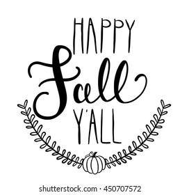 happy fall y'all saying with pumpkin laurel wreath vector