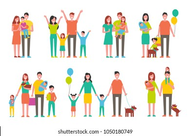 Happy families with children and little dogs set. Cheerful big families with bright balloons in good mood isolated cartoon flat vector illustrations.