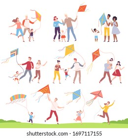 Happy Families Playing Kites Collection, Mothers, Fathers and their Kids Launching Kite at Festival, Outdoor Recreational Activities Vector Illustration