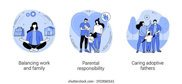 Herzlichen Glückwunsch, Familie abstraktes Konzept, Vektorgrafik Set. Ausgewogenheit zwischen Arbeit und Familie, elterliche Verantwortung, Fürsorge für Adoptivväter, soziale Rollen, Pflege, abstrakte Zeitmanagement-Metapher.