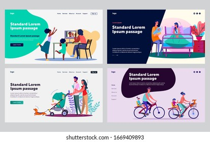 Happy family activities set. Parents and children walking, riding bikes, soothing baby. Flat vector illustrations. Leisure, child care concept for banner, website design or landing web page