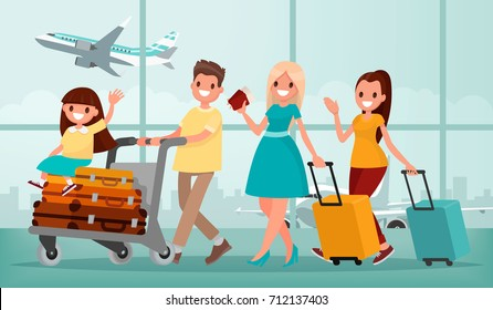 Happy family in airport terminal. Vector illustration in a flat style