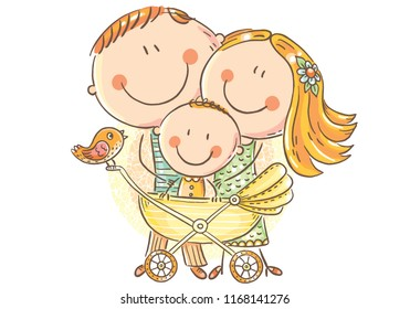 Happy family with a baby in a baby carriage, vector illustration