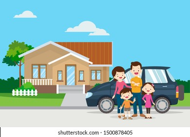 Happy family in the background of his home and car.Happy family in the background of his home. Father, mother, son and daughter together outdoors.Family standing outside new home. People moving house.
