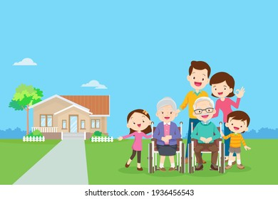 Happy family in the background of his home. Big family together in the park.happy elderly be happy on wheelchair with parents.