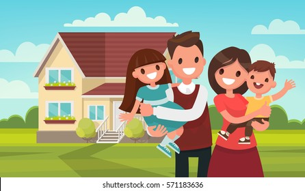 Happy family in the background of his home. Father, mother, son and daughter together outdoors. Vector illustrations in the flat style