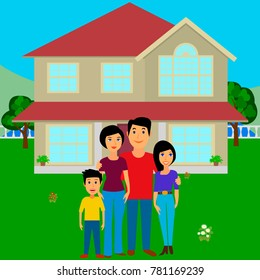 Happy family in the background of his home. Father, mother, son and daughter together outdoors. Vector illustrations in the flat style. Isolated.